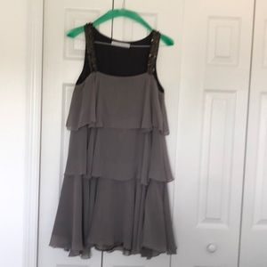 Party dress, gray with sequins, Zara.